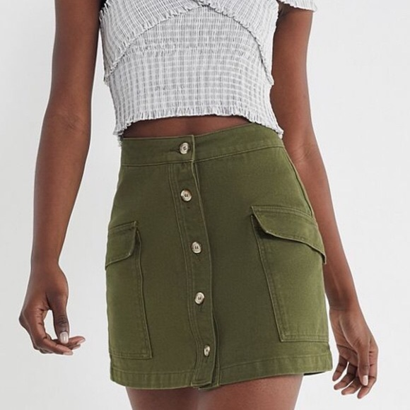 BDG Dresses & Skirts - BDG olive denim button skirt